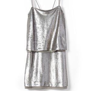 Banana Republic Silver Strappy Sequin Dress
